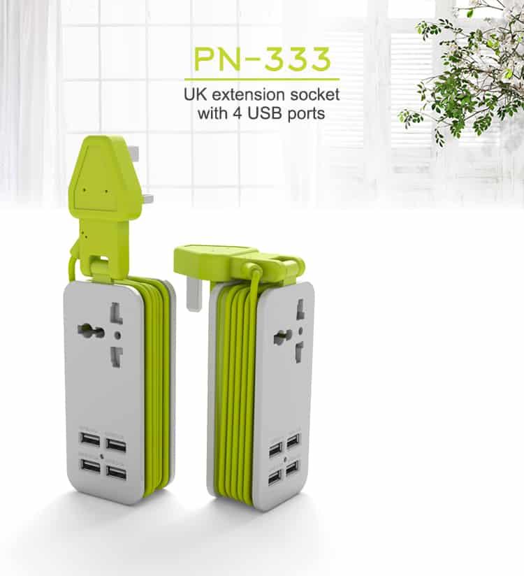 Pineng Soket Extension 4 USB Port Hub PN333 Green