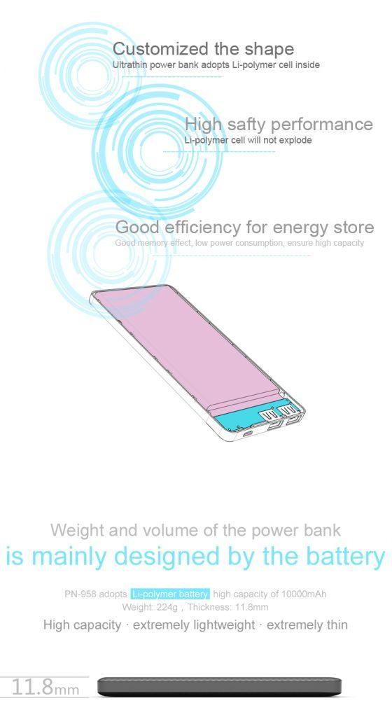 Power Bank Pineng 10000mAh PN958 Lithium Polymer 6