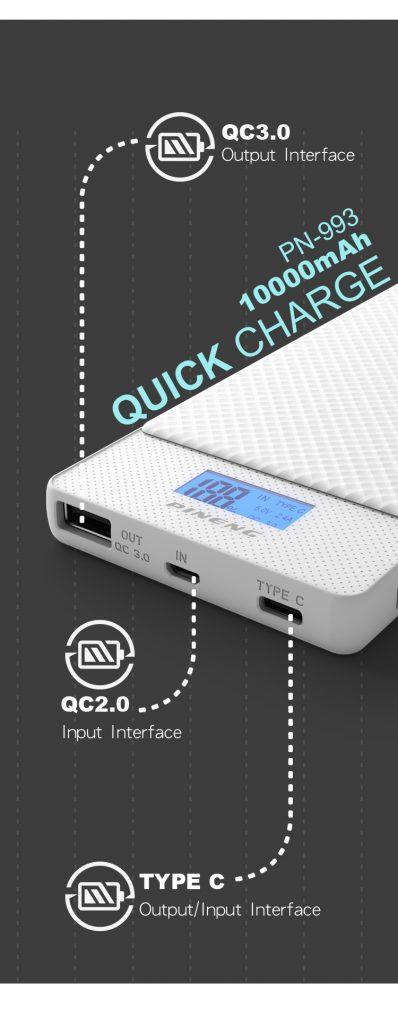 Power Bank Pineng 10000mAh PN993 Fast Charging QC 3.0 USB Type C 1