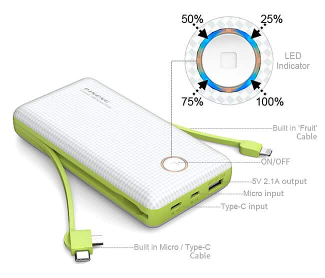 PINENG Power Bank 20000mAh PN 959 Built In USB Cable 2