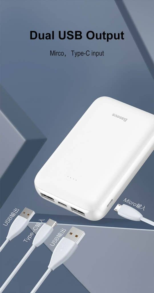 Baseus Mini JA 2.1A Dual USB Output 10000mAH Power Bank 2