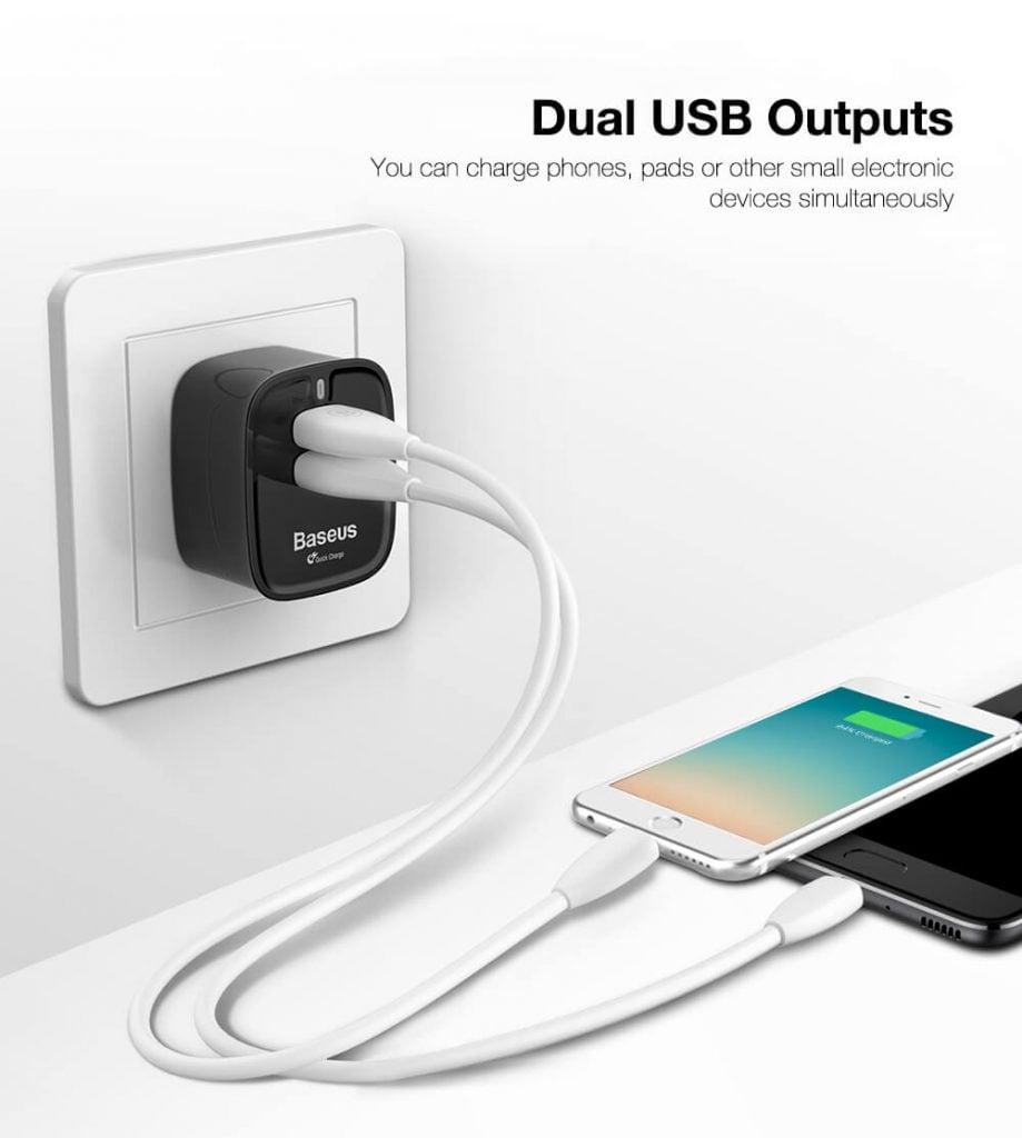 Baseus Funzi Dual USB Wall Charger Quick Charge 3.0 2