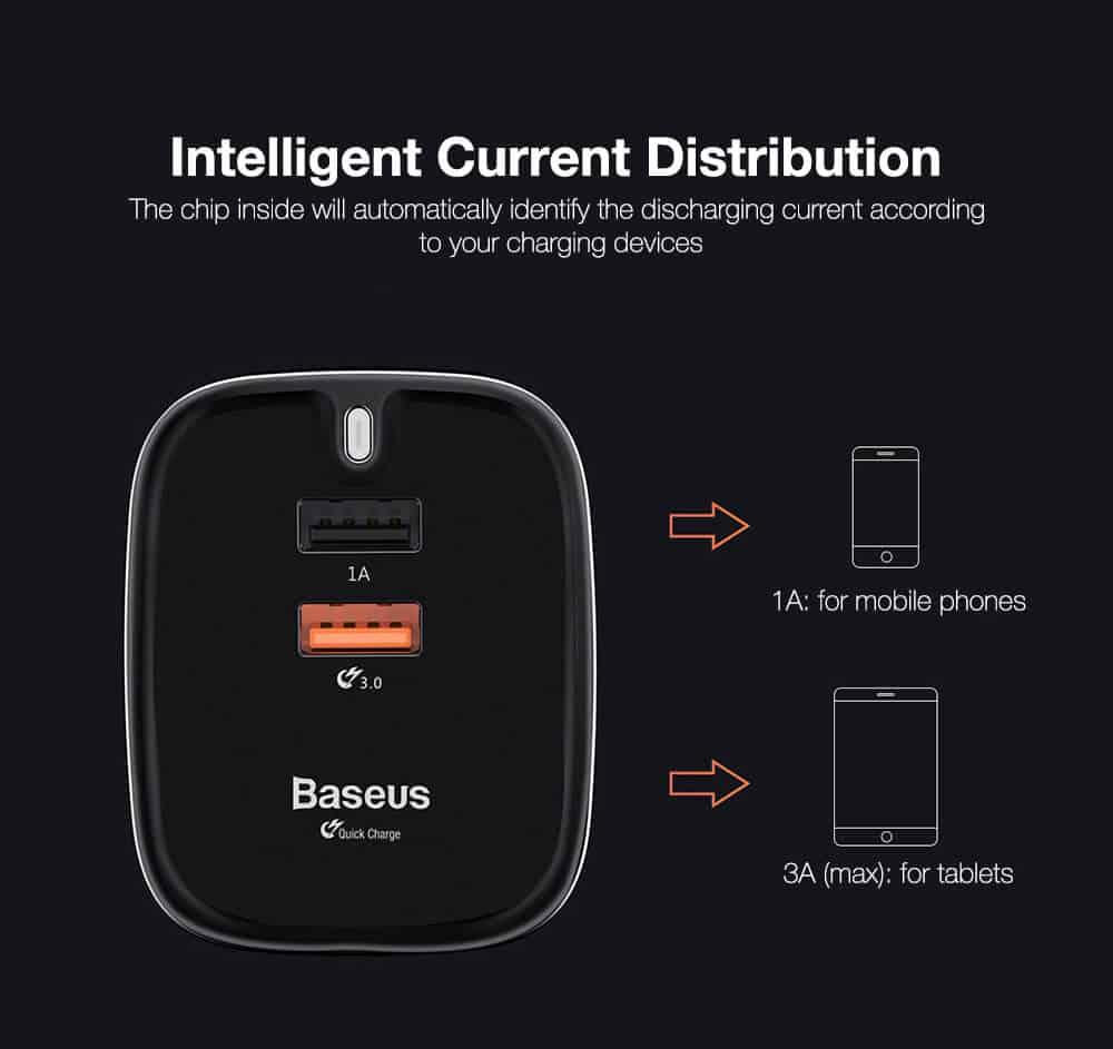 Baseus Funzi Dual USB Wall Charger Quick Charge 3.0 5