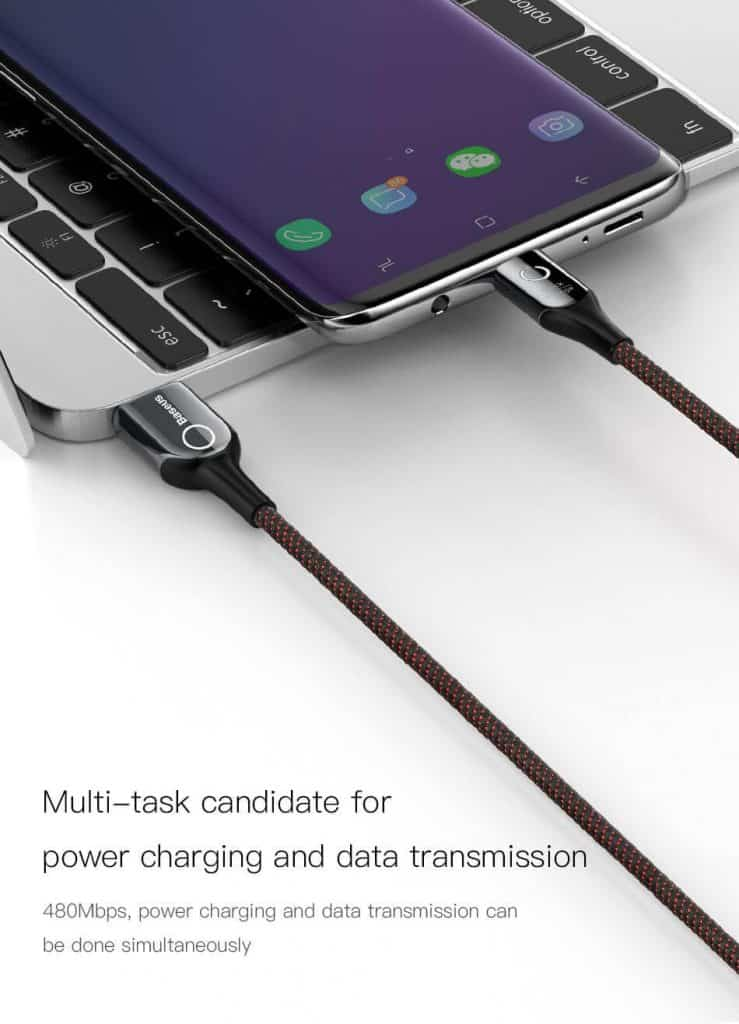 BASEUS USB Cable Type C with Cut Off Auto Disconnect Fast Charging 6