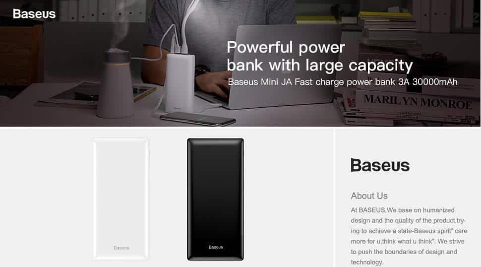 BASEUS Mini JA Power Bank 30000mAh 15W 3A Power Delivery 14