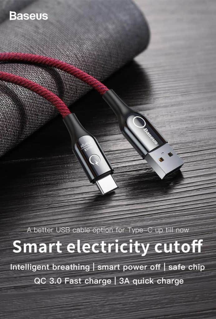 BASEUS USB Cable Type C with Cut Off Auto Disconnect Fast Charging 1