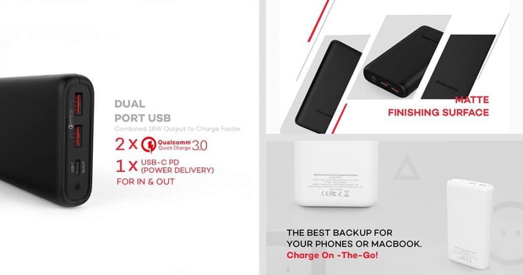 MARAKOKO MPB5 Power Bank 20100mAh 18W Dual QC3.0 USB-C PD 3.0 1