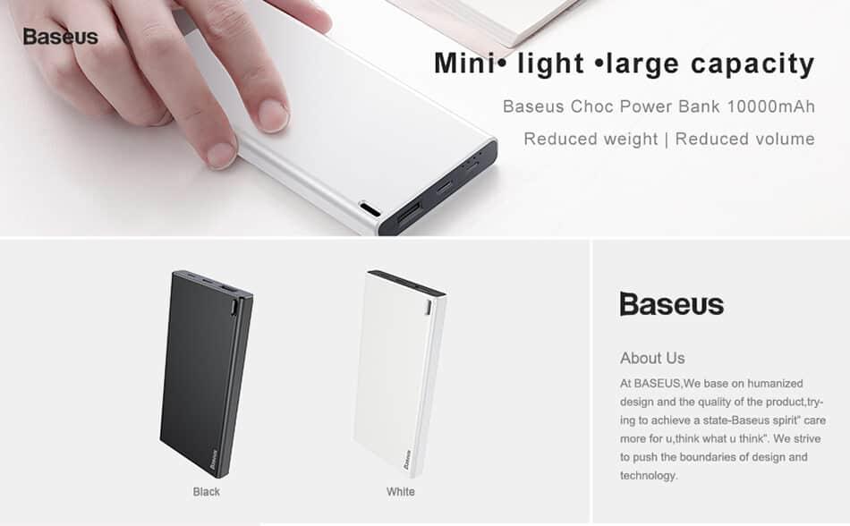 BASEUS Choc Power Bank 10000mAh Ultra Slim 1