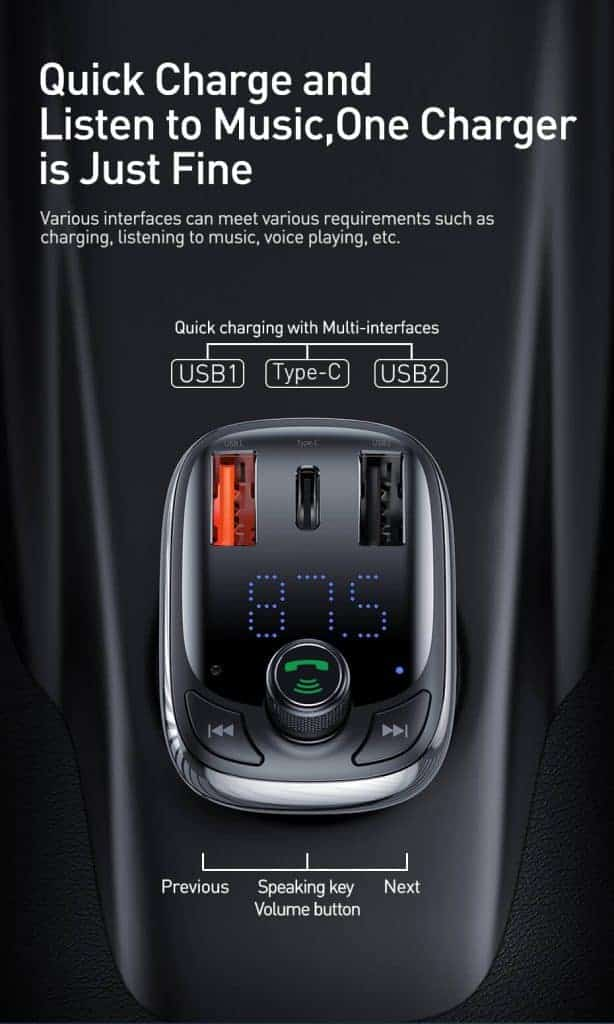 BASEUS T Type Wireless Bluetooth USB Car Charger MP3 Player 5