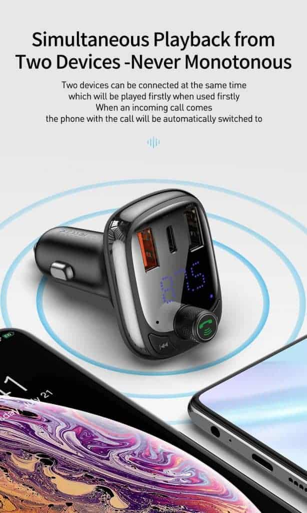 BASEUS T Type Wireless Bluetooth USB Car Charger MP3 Player 6