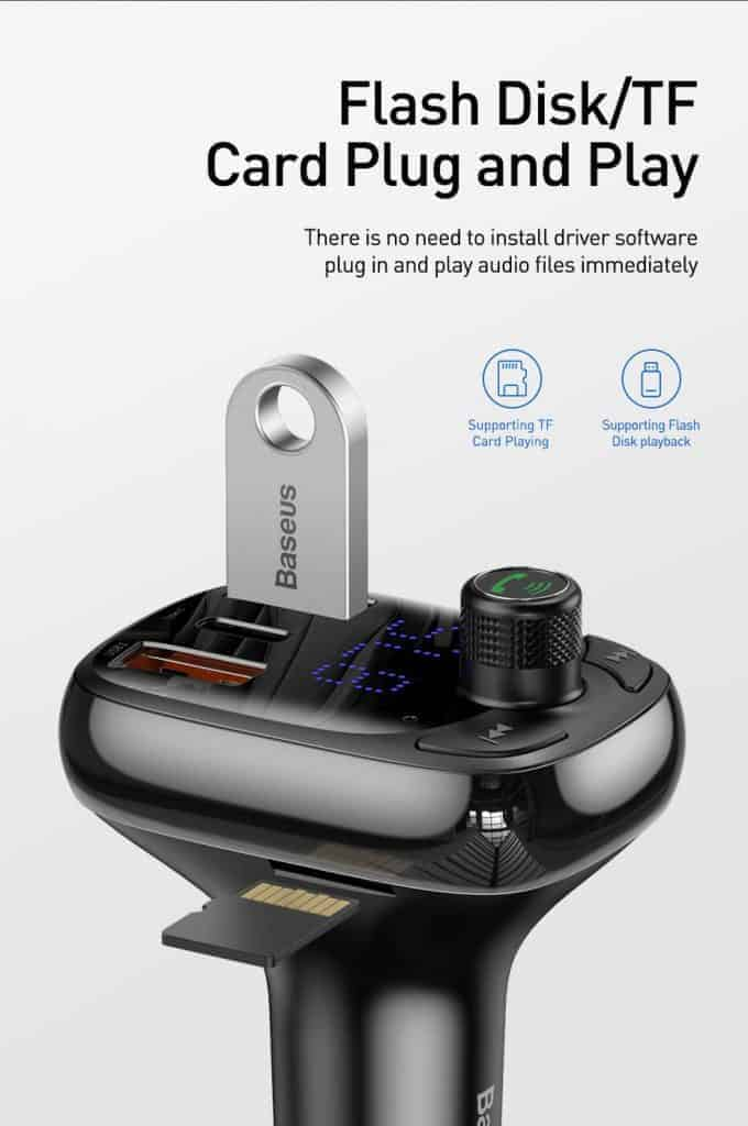 BASEUS T Type Wireless Bluetooth USB Car Charger MP3 Player 7