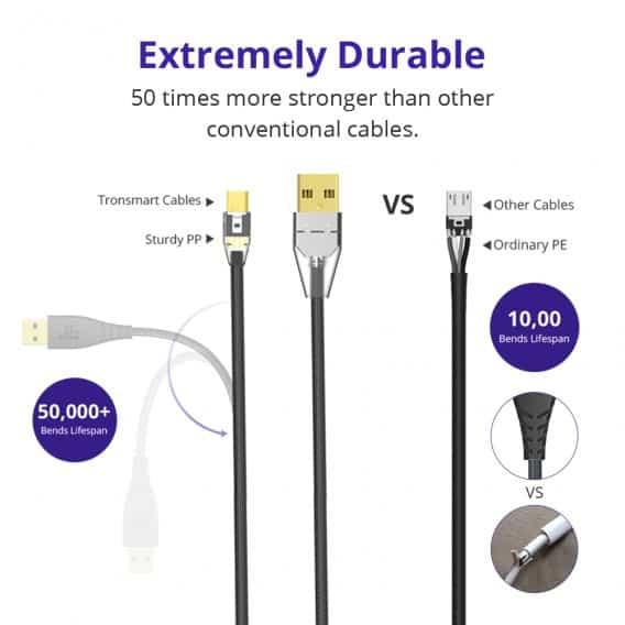 TRONSMART MUCG04 Micro USB Braided Nylon 1 Meter 1