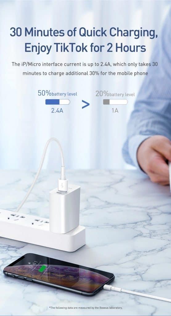 Baseus Mini White Cable Type C Lightning Micro USB Cable 2